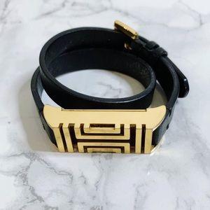 Tory Burch for Fitbit® Black Leather Wrap Bracelet
